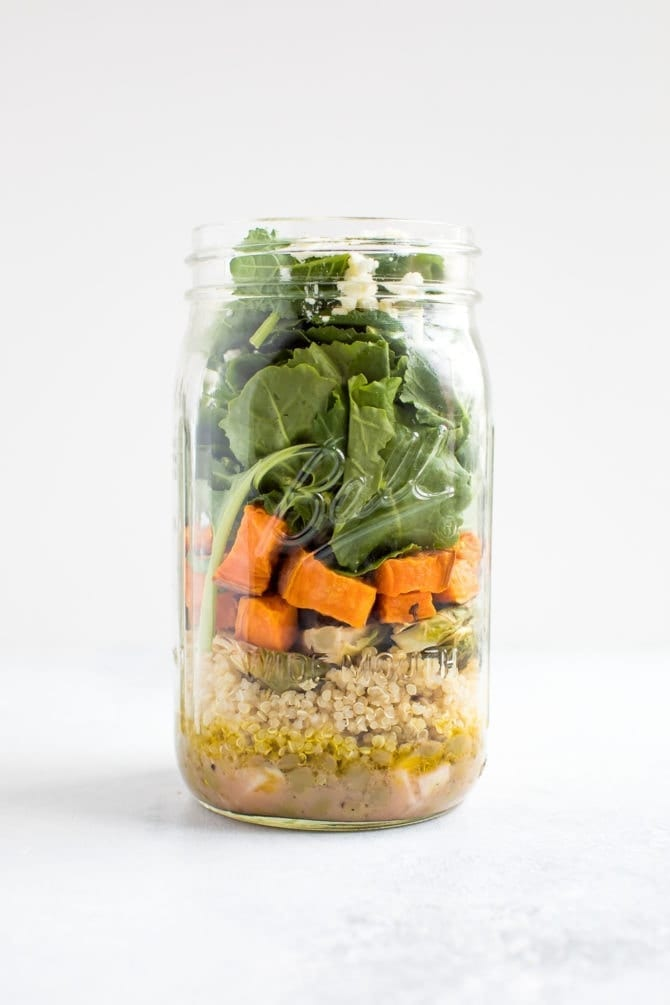 Kale Sweet Potato Lentil Mason Jar Salad