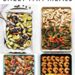 "Collage our sheet pan meals in a grid, texts reads ""21 Healthy Sheet Pan Meals"""