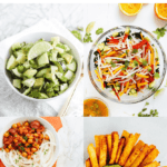 "Collage of four recipes with jicama with text ""Jicama Recipes to Try This Summer"""
