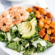 Kale Caesar Salad with Grilled Lemon Pepper Shrimp (Video)