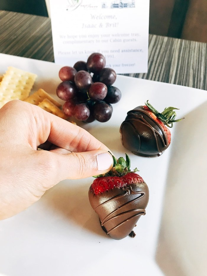 Hand picking up a chocolate covered strawberry from a white plate with grapes and crackers.