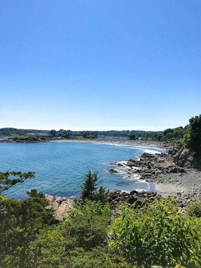 A view from Cliff Walk in York, Maine. Green tress and bushes are next to a rocky beach and blue ocean water.