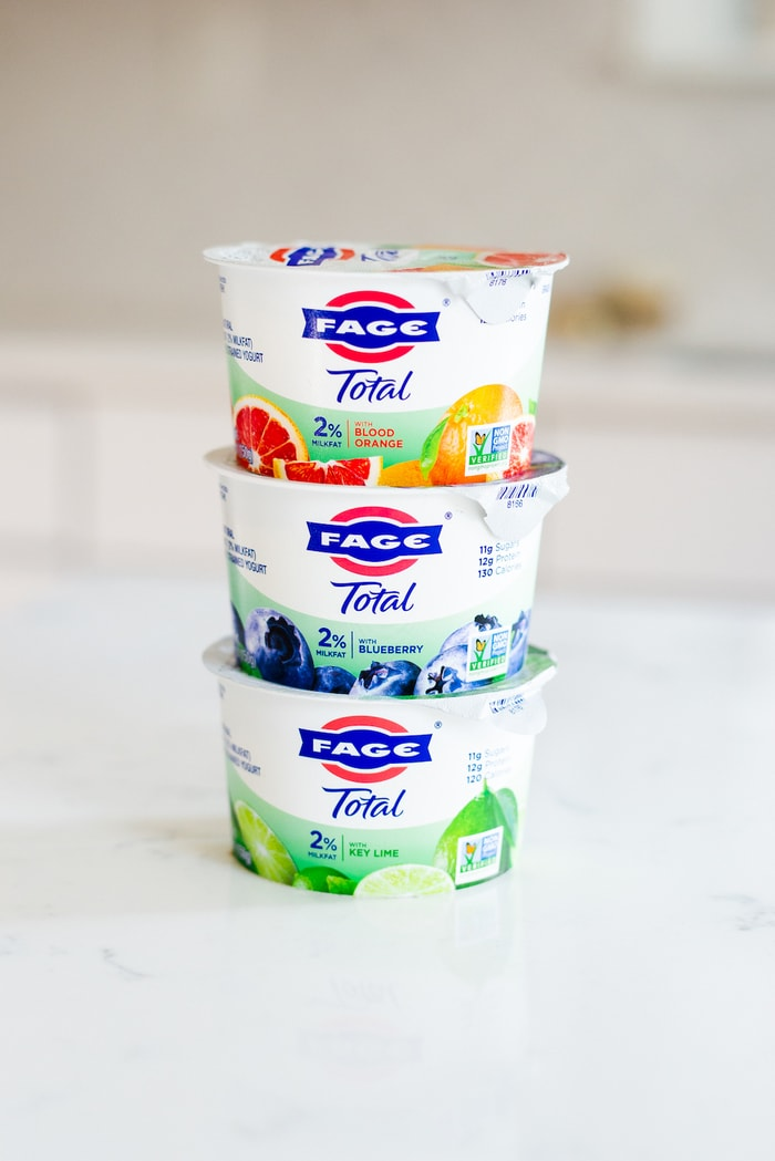 Stack of 3 Fage yogurt containers: Blood Orange, Blueberry, and Key Lime.