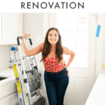 "Woman standing in a partially renovated kitchen, leaving on a ladder. Text above reads ""Healthy Eating During a Kitchen Renovation"""