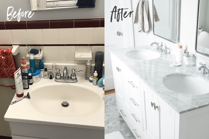 Before and after bathroom sink side-by-side. Before sink is cluttered and has maroon and white tile backsplash. After sinks are a double vanity with white cabinets and grey and white marble top.