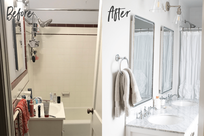Before and after side-by-side of a sink and shower. Before sink is cluttered and the shower walls are maroon and white tile. The after bathroom is bright and white with a double vanity and two mirrors, and new lights and white shower curtain.