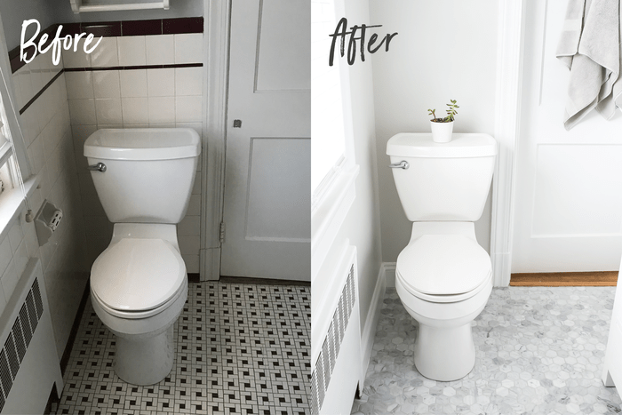 Before and after side by side toilets. Before toilet has a maroon and white tile floor and wall. After, the walls are light grey and the floor has marble hexagon tiles.