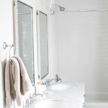 Master Bathroom Renovation – White, Bright Small Bathroom