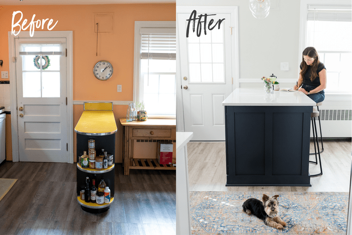 Before and after side-by-side photos of a kitchen. The before has orange walls and a yellow counter top. After is a light grey wall and a navy bar counter top. A woman sits on a stool, and a dog is on the rug.