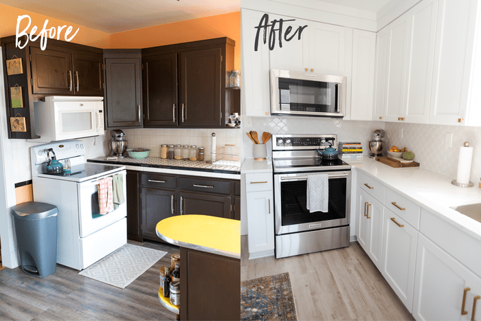 Before and after kitchen photos. Before the stove is white, the cabinets are dark and the walls are orange. After, the kitchen is white with a chrome stove and microwave, and a scalloped backsplash.