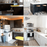 Collage of before and after kitchen renovation photos.