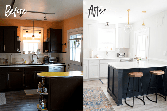Before and after photos of a kitchen. Before the cabinets are dark, and the walls are orange. After the cabinets are white and the walls are white-grey. There are wooden bar stools at a navy and marble counter.