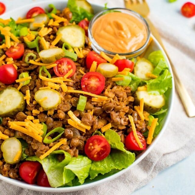 """""""Cheeseburger"""" Salad with Special Sauce"""