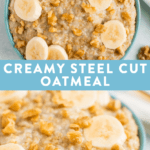 Bowls of healthy creamy steel cup oats.
