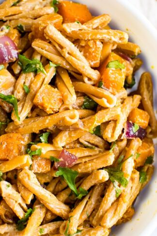 Roasted Butternut Squash Pasta with Tahini Sauce