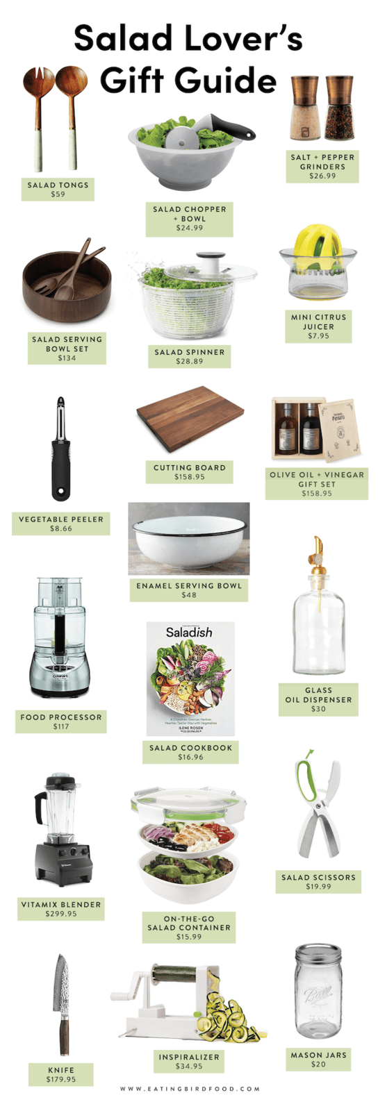 A graphic with gift ideas for salad lovers.