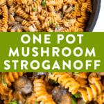 Creamy vegan mushroom stroganoff made with red lentil pasta.