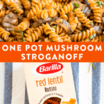 Healthy, one pot, vegan mushroom stroganoff.