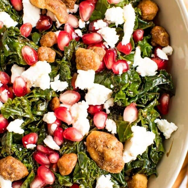 Kale Pomegranate Salad with Goat Cheese (Christmas Salad)