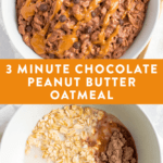 Ingredients for 3-minute chocolate peanut butter in a bowl before being cooked, and after being microwaved and topped with chocolate chips and a peanut butter drizzle.