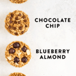 Baked oatmeal cups 4-ways including peanut butter banana, apple cinnamon, chocolate chip, and blueberry almond.