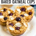 Three blueberry almond baked oatmeal cups on a plate.