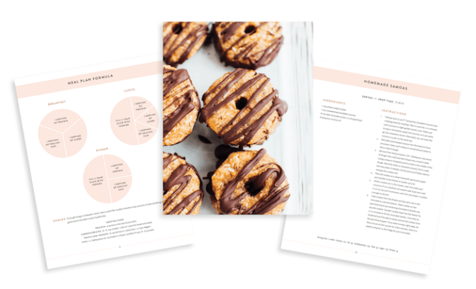 Three sample pages of the meal plan book.