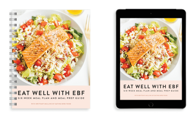 Side by side image of the printed meal prep book and the meal prep book on a iPad.
