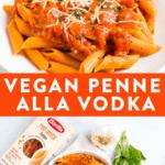Penne alla vodka topped with a creamy, vegan tomato sauce.