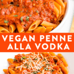 Creamy and healthy vegan penne alla vodka topped with fresh basil.