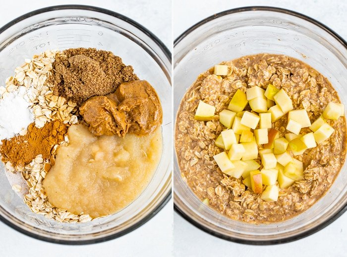 Side by side of ingredients for apple baked oatmeal cups in two bowls.