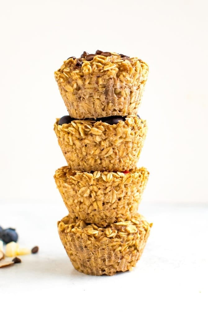 Stack of baked oatmeal cups.