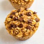 Close up of chocolate chip baked oatmeal cup.