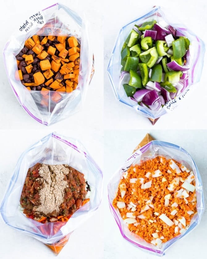 4 freezer bags with vegetarian freezer meals. Freezer meals include vegetarian chili, sweet and sour tempeh, Mexican quinoa bake, and red lentil butternut stew.