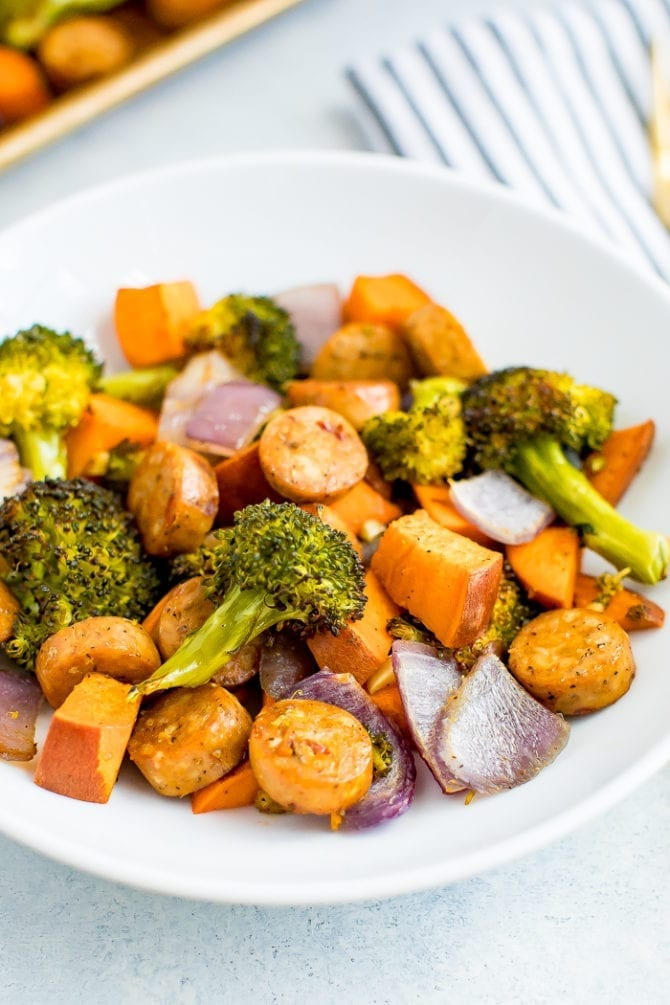 Plate with roasted chicken sausage, red onions, sweet potato, and broccoli.