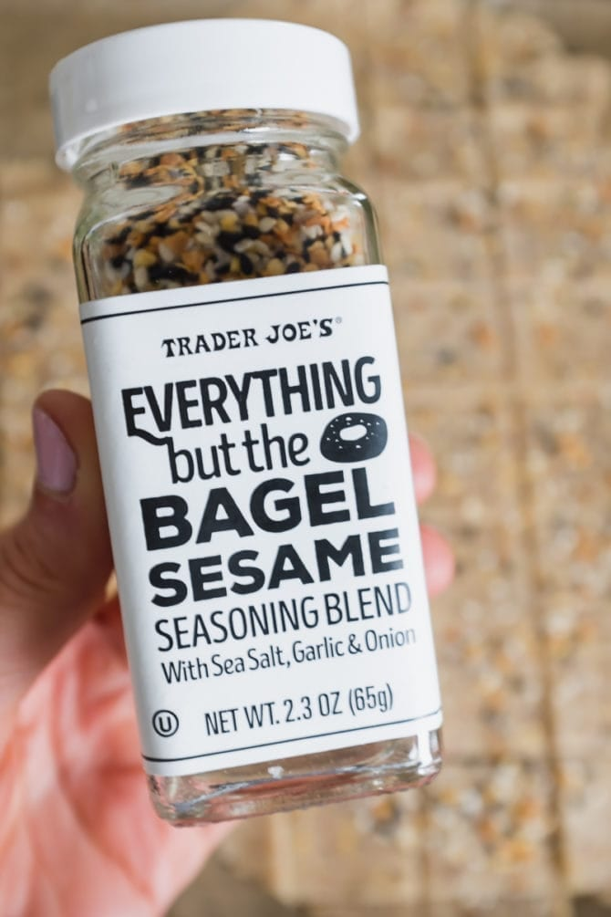 Jar of Trader Joe's Everything but the Bagel seasoning.