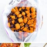 Photos of freezer meal chili in a gallon bag, slow cooker and bowl.