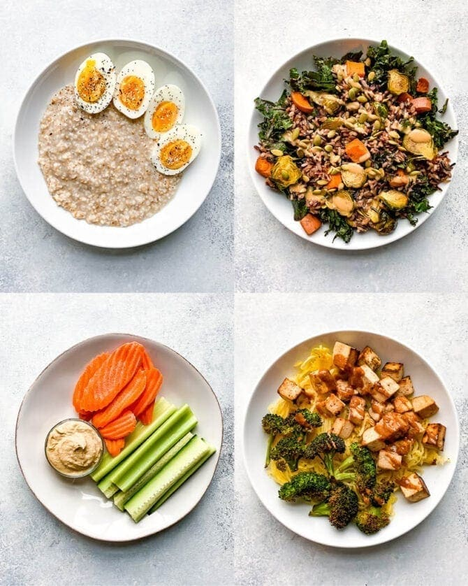 Four balanced meals-- eggs and oatmeal, a salad with veggies, veggies with hummus, and a bowl of spaghetti squash with tofu and broccoli.