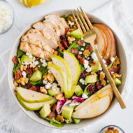 Pear Salad with Walnuts, Avocado and Grilled Chicken