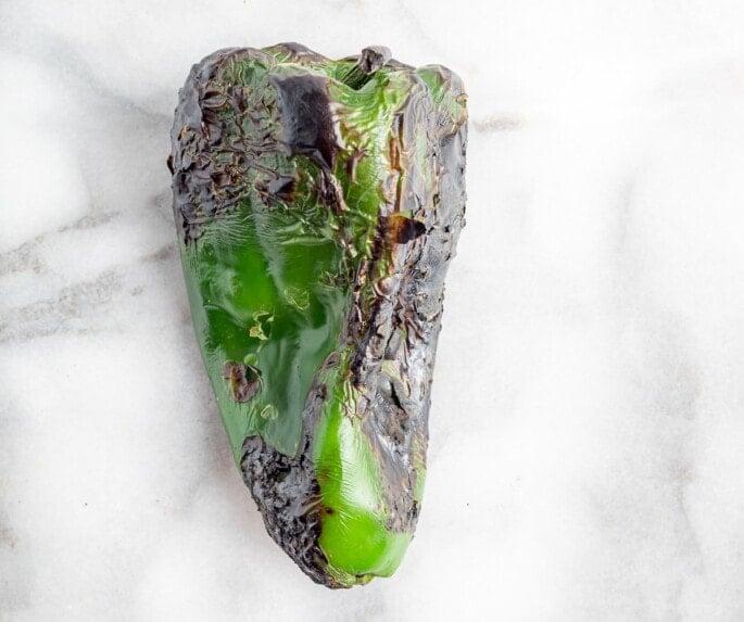 Charred poblano pepper.