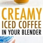 Glass of creamy, frothy, blended cold brew iced coffee with almondmilk creamer. Almond Breeze almondmilk creamer bottle.