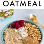 Bowl of egg white oatmeal with toppings.