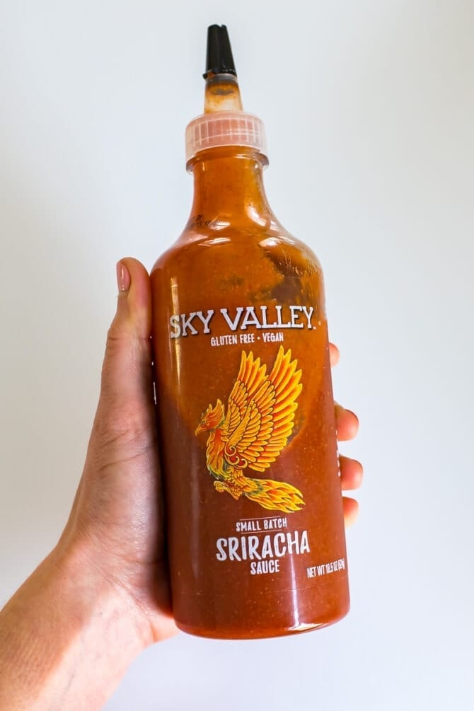 Sky valley sriracha sauce bottle.