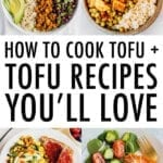 collage of photos of tofu recipes and caption