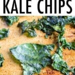 baked kale chips on a baking sheet