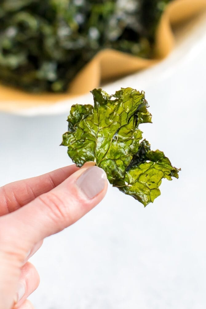 Hand holding a crispy baked kale chip