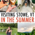 Collage of photos from Stowe Vermont including breweries, a resort pool, a covered bridge, and Ben & Jerry's ice cream cones.