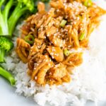 Plate with broccoli, rice, and shredded teriyaki chicken topped with green onions.