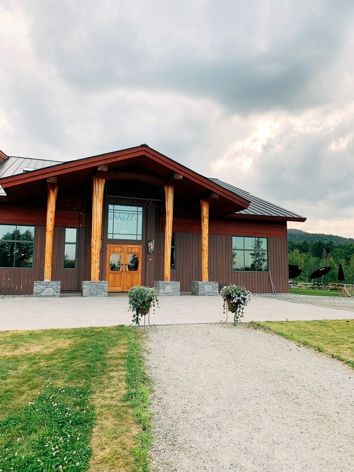 Lodge-like building at a Von Trapp Brewery in Vermont.