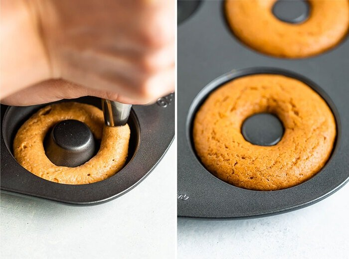 Side by side photos of piping donut batter into a donut baking pan, and the baked donut in the pan.